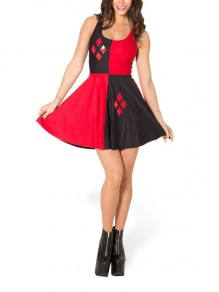 Red-Black Clown Girl Pleated Spaghetti Strap Halloween Party Mini Dress