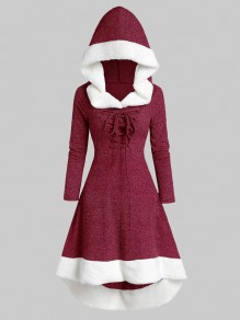Red Patchwork Drawstring High-low Long Sleeve Hooded Vintage Mini Dress