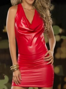 Red Backless Bodycon Plus Size PU Leather Latex Patent Rubber Party Mini Dress