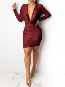 Burgundy Sequin Cowl Neck Sparkly Bodycon Banquet NYE Party Mini Dress
