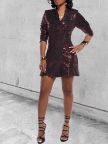 Red Patchwork Sequin Bodycon Sparkly Glitter Birthday V-neck Party Mini Dress