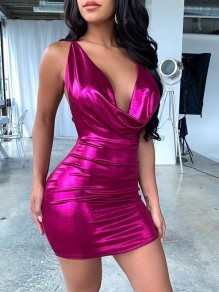 Rose Carmine Spaghetti Strap V-neck Backless Laser Bodycon Party Mini Dress