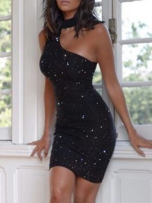 Black Patchwork Sequin Asymmetric Shoulder Bodycon Sparkly Glitter Birthday Party Mini Dress