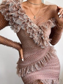 Pink Patchwork Lace Ruffle Bodycon V-neck Party Maxi Dress