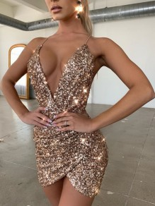 Champagne Patchwork Sequin Spaghetti Strap Backless Deep V-neck Sparkly Glitter Birthday Party Mini Dress