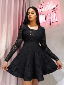 Black Patchwork Lace Pleated Long Sleeve Tutu Homecoming Party Mini Dress