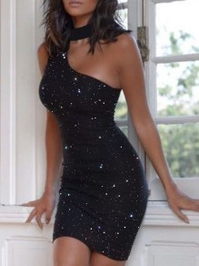 Black Patchwork Sequin Halter Neck Cut Out Bodycon Sparkly Glitter Birthday Party Mini Dress