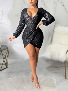 Black Patchwork Sequin Backless Bodycon Sparkly Glitter Birthday Party Mini Dress
