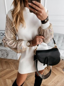Beige Patchwork Sequin Round Neck Long Sleeve Fashion Sweater Dress