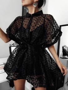 Black Patchwork Grenadine Polka Dot Buttons Pleated Sheer Party Mini Dress