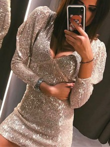 Silver Patchwork Sequin Bodycon Sparkly Glitter Birthday Party Mini Dress