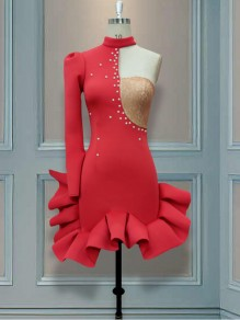Red Patchwork lace Pearl Asymmetric Shoulder Bodycon Mermaid Prom Evening Party Mini Dress