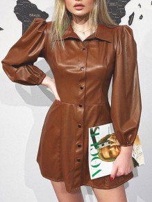 Khaki Buttons Pleated PU Leather Latex Rubber Long Sleeve Party Mini Dress