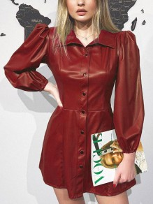 Red Buttons Pleated PU Leather Latex Rubber Long Sleeve Party Mini Dress