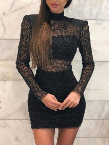 Black Patchwork Lace Bodycon Sheer Party Mini Dress