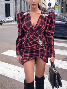 Red-Black Plaid Print V-neck Puff Sleeve Hip Bodycon Hot Flannel Mini Dress