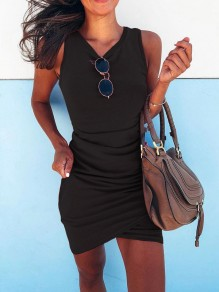 Black Ruffle Round Neck Fashion Mini Dress