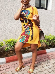 Yellow Africa Girl Cartoon Print Round Neck Short Sleeve Slit High-low Casual T-Shirt Mini Dress