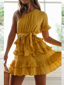 Yellow Ruffle Sashes Asymmetric Shoulder Short Sleeve Fashion Mini Dress