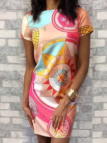 Pink Geometric Print Round Neck Short Sleeve Fashion Mini Dress