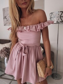 Pink Ruffle Sashes Pleated Off Shoulder Cocktail Party Mini Dress