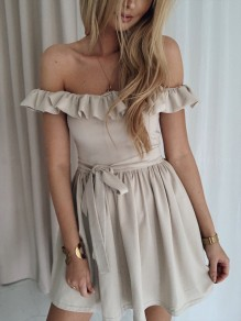 Apricot Ruffle Sashes Pleated Off Shoulder Cocktail Party Mini Dress