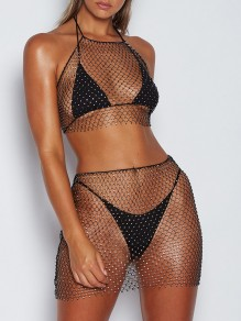 Black Mesh With Rhinestones High Waisted Bodycon Clubwear Two Piece Vest Shimmer Glitter Sparkly Birthday Party Mini Dress