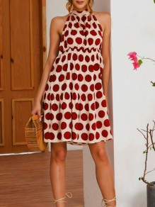 Red Polka Dot Print Halter Neck Backless Fashion Mini Dress