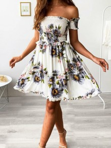 White-Purple Patchwork Ruffle Sunflower Print Off Shoulder Ruched Square Neck Ruffle Short Sleeve Sundress Cute Mini Dress