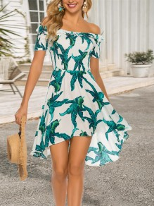 Green Boohoo Palm Leaves Print Ruffle Off Shoulder Ruched Short Sleeve Sundress High-Low Flowy Homecoming Cute Mini Dress
