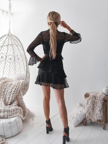 Black Patchwork Lace Double-deck Layers Of Bodycon Flare Sleeve Fashion Mini Dress