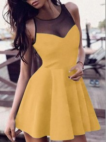 Yellow Grenadine Draped Round Neck Elegant Skate Mini Dress