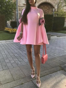 Pink Patchwork Embroidery Floral Raglan Sleeves Cape Elegant Party Mini Dress