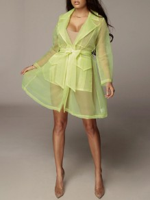 Neon Yellow Pockets Belt Organza Tailored Collar V-neck Long Sleeve Sheer Blazer Mini Dress