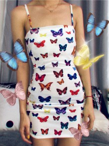 White Colorful Butterfly Print Shoulder-Strap Square Neck Bodycon Clubwear Mini Dress