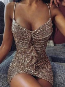 Coffee Ruffle Sequin Spaghetti Strap Backless Bodycon Sparkly Banquet Party Mini Dress