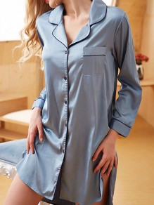 Light Grey Satin Pocket Buttons Slit Long Sleeve Pajamas Onesize Sleepwear Boyfriend Blouse Mini Dress