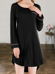 Black Pocket Round Neck Long Sleeve Cute Pajamas Mini Dress