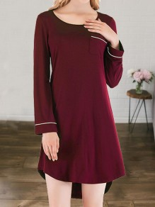 Wine Red Pocket Round Neck Long Sleeve Cute Pajamas Mini Dress