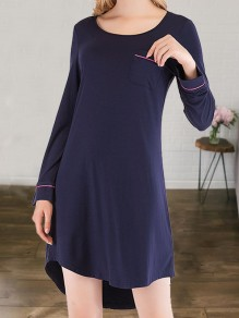 Navy Blue Pocket Round Neck Long Sleeve Cute Pajamas Mini Dress