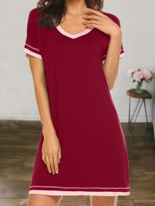Wine Red V-neck Short Sleeve Cute Pajamas Mini Dress