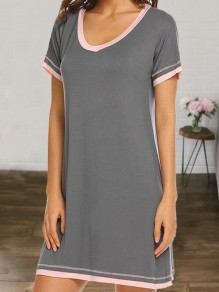 Grey V-neck Short Sleeve Cute Pajamas Mini Dress