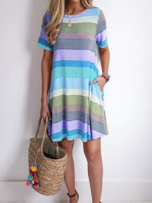 Purple Colorful Striped Pocket Round Neck Short Sleeve Cute Mini Dress