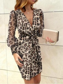Brown Leopard Pattern Deep V-neck Lantern Sleeve Banquet Party Mini Dress