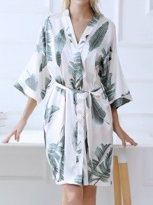 White Palm Leaves Floral Print Sashes Pocket V-neck Fashion Bohemian Kimono Pajamas Night Robe