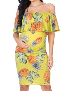 Yellow Pineapple Print Ruffle Off Shoulder Short Sleeve Maternity Dress