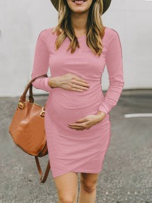 Pink Irregular Round Neck Long Sleeve Casual Mini Maternity Dress