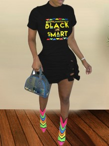 "Black ""BLACK AND SMART"" Monogram Print Cut Out Round Neck Short Sleeve Bodycon Mini Dress"