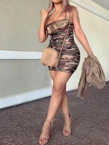 Camouflage Spaghetti Strap Bodycon Party Mini Dress