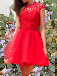 Red Lace Backless Round Neck Short Sleeve Elegant Banquet Mini Dress